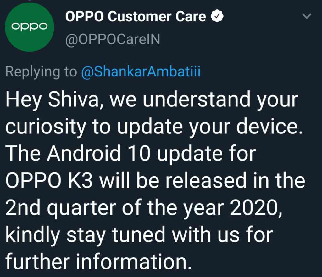 Oppo K3 Android 10 Update Date