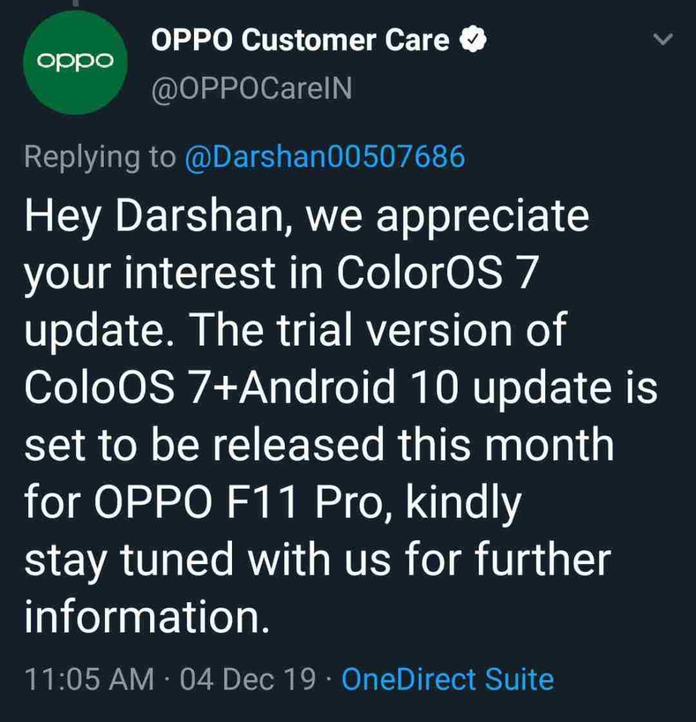 Oppo F11 Pro ColorOS 7 [Android 10] Update