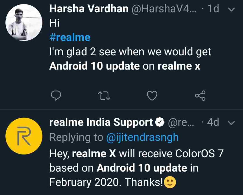 Realme X Android 10 Update