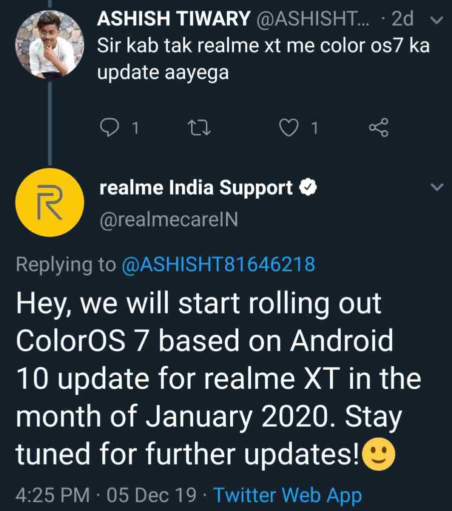 Realme XT Pro Android 10 update