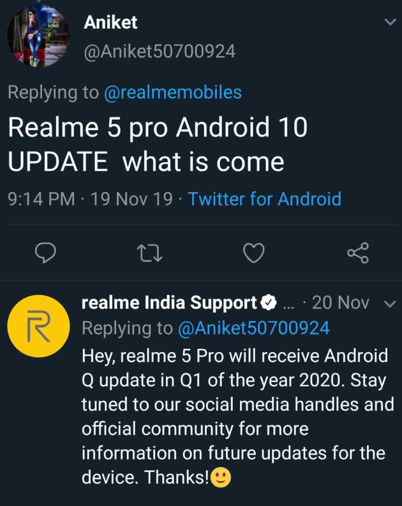 Realme 5 Pro Android 10 [ColorOS 7] update date