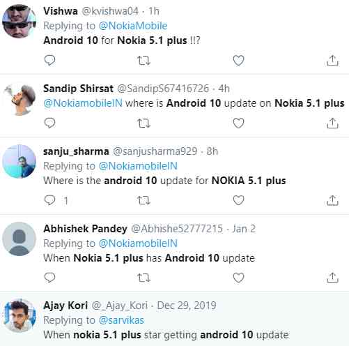 Nokia 5.1 Plus Android 10 update date