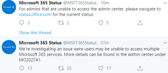 [official update] Microsoft 365 services down (not working) for many users