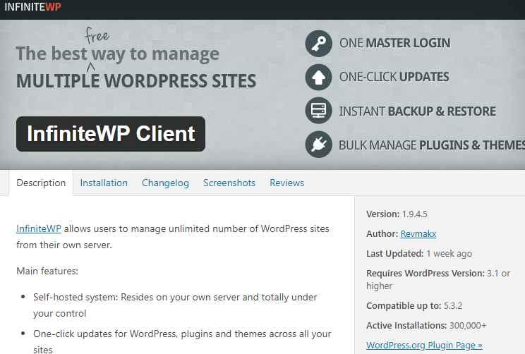 WordPress Warning [InfiniteWP client plugin bug