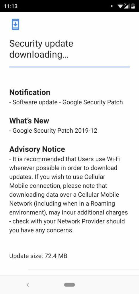 Nokia 5.1 Plus december security update