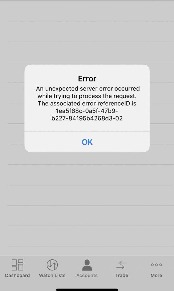 TD Ameritrade servers down