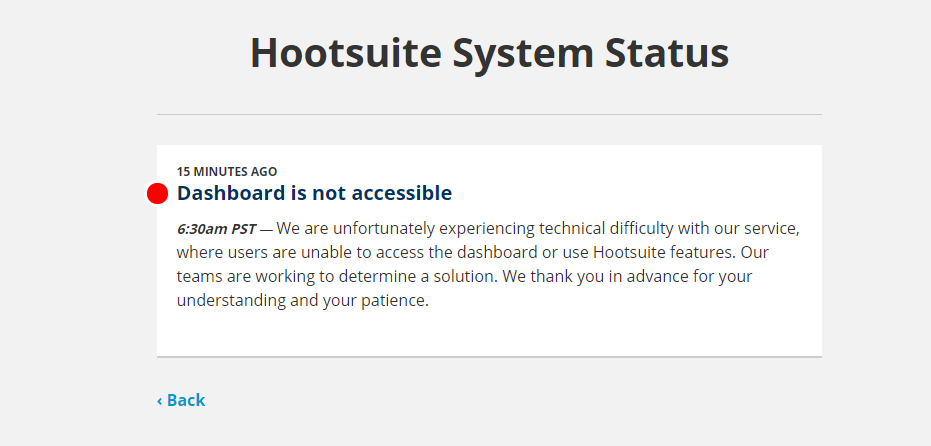 Hootsuite website down