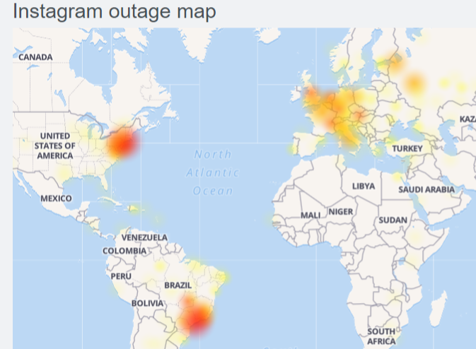 Instagram Down (Not working) for many users