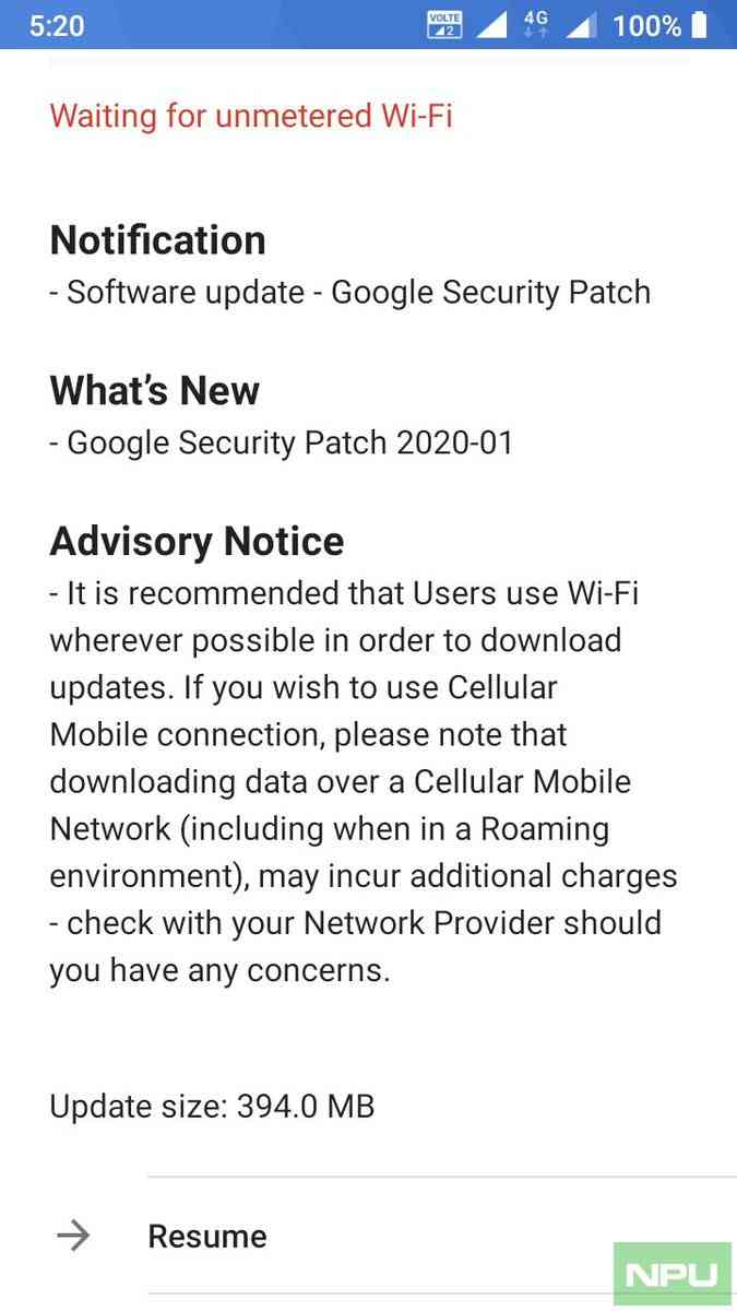 Nokia 5 January Security patch update