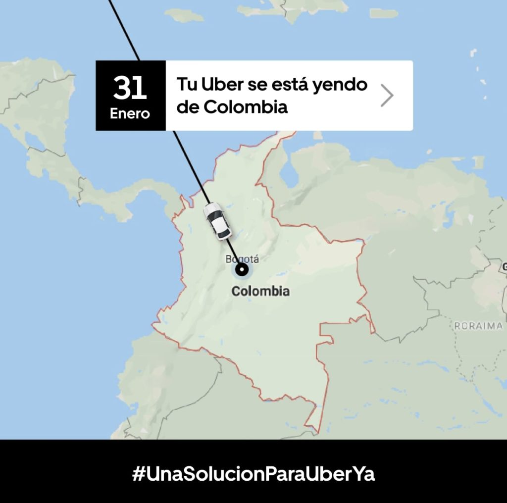 Uber announces end of services in Colombia, Garage