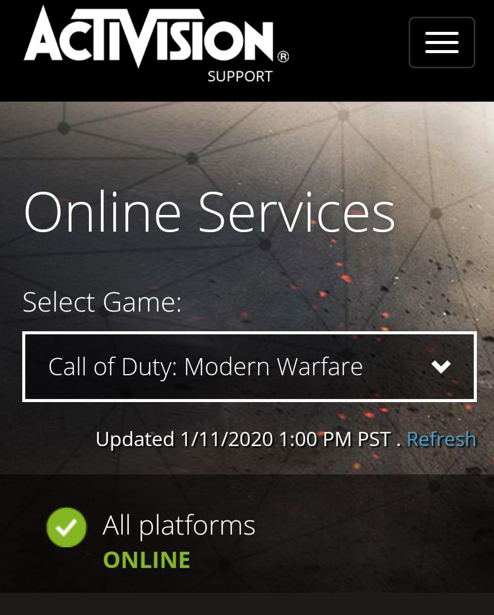 COD servers down : Call of Duty modern warfare servers down