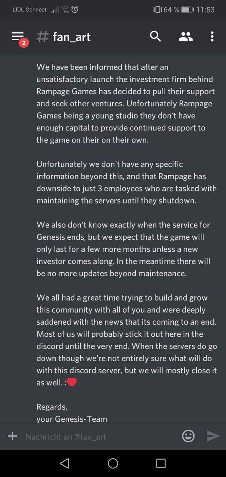 Rampage Games shutting down Genesis game