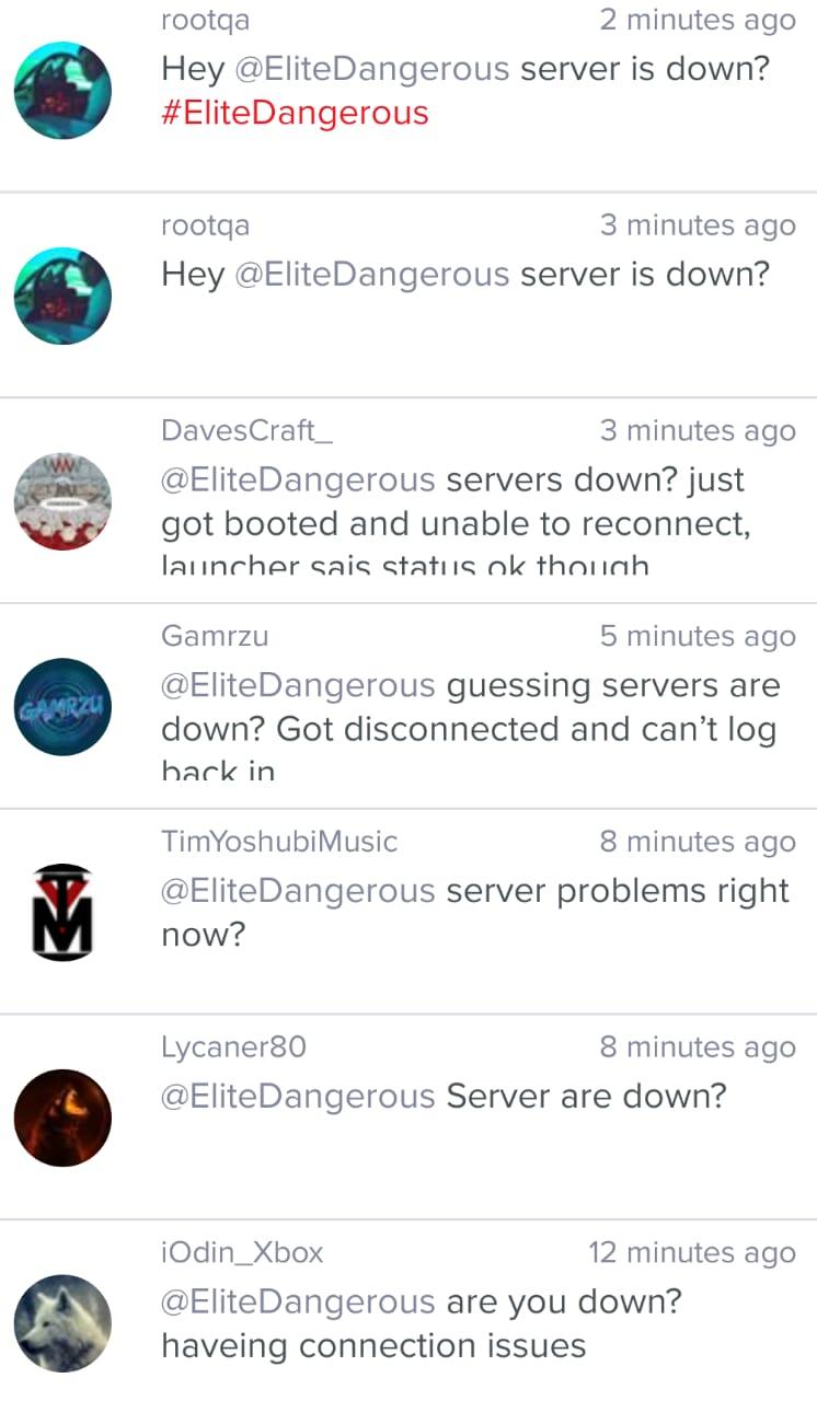 Elite Dangerous servers down
