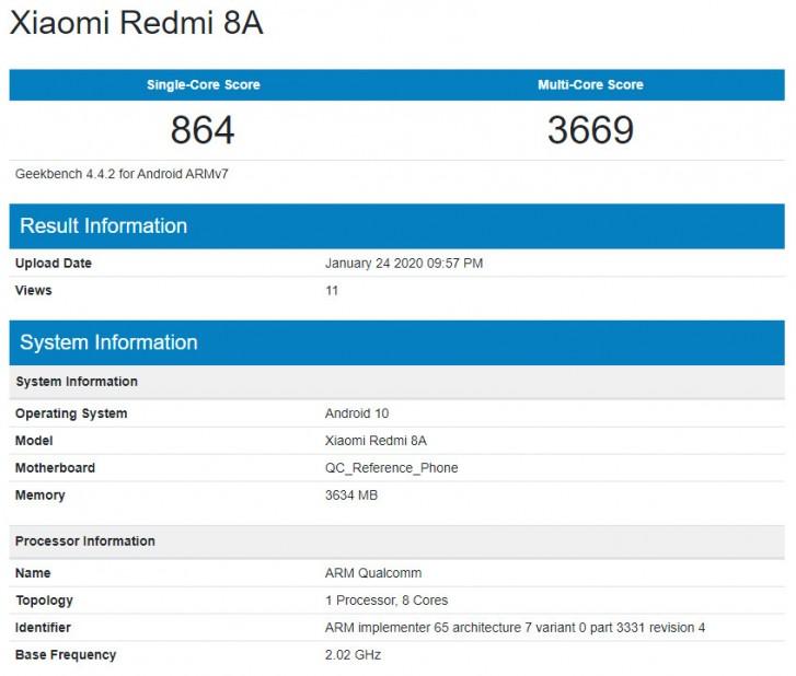 Xiaomi Redmi 8A Android 10 update