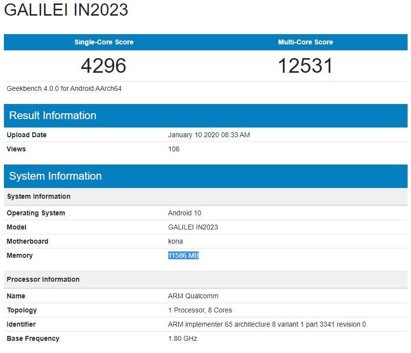 OnePlus 8 Pro Geekbench scores