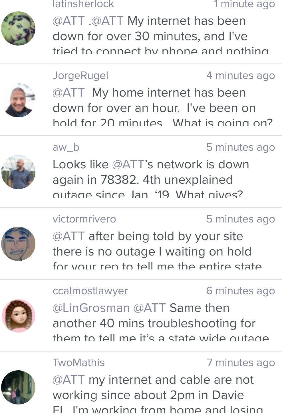 AT&T internet down (not working)