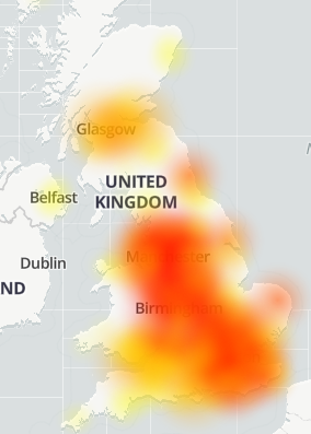 3 (Three) UK internet DOWN (not working) for some users