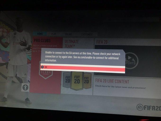 FIFA 20 Servers down