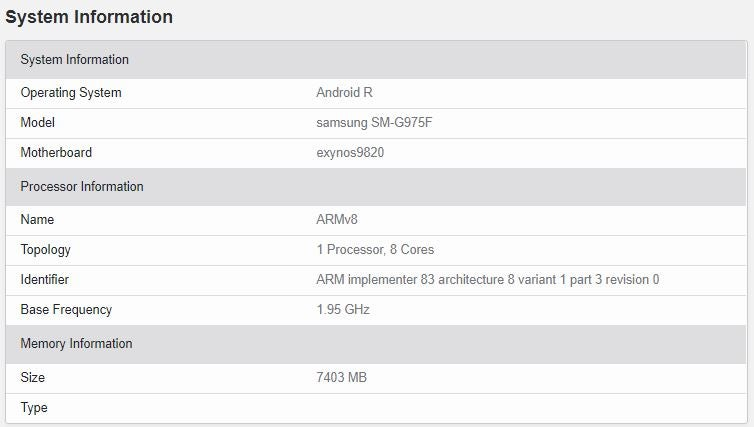Samsung Galaxy S10 Plus Android 11 (Android R)