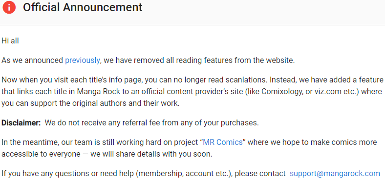 Mangarock PC site shutting down after Manga rock app removal : you can no longer read manga on Mangrock, here is what's next and mangrock alternatives
