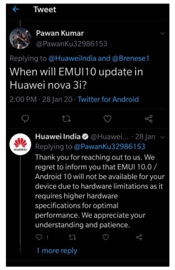 Huawei 3i Android update denied