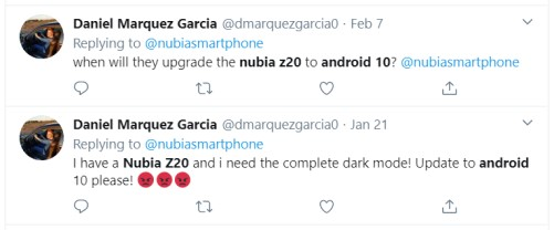 Nubia Z20 Android 10 update