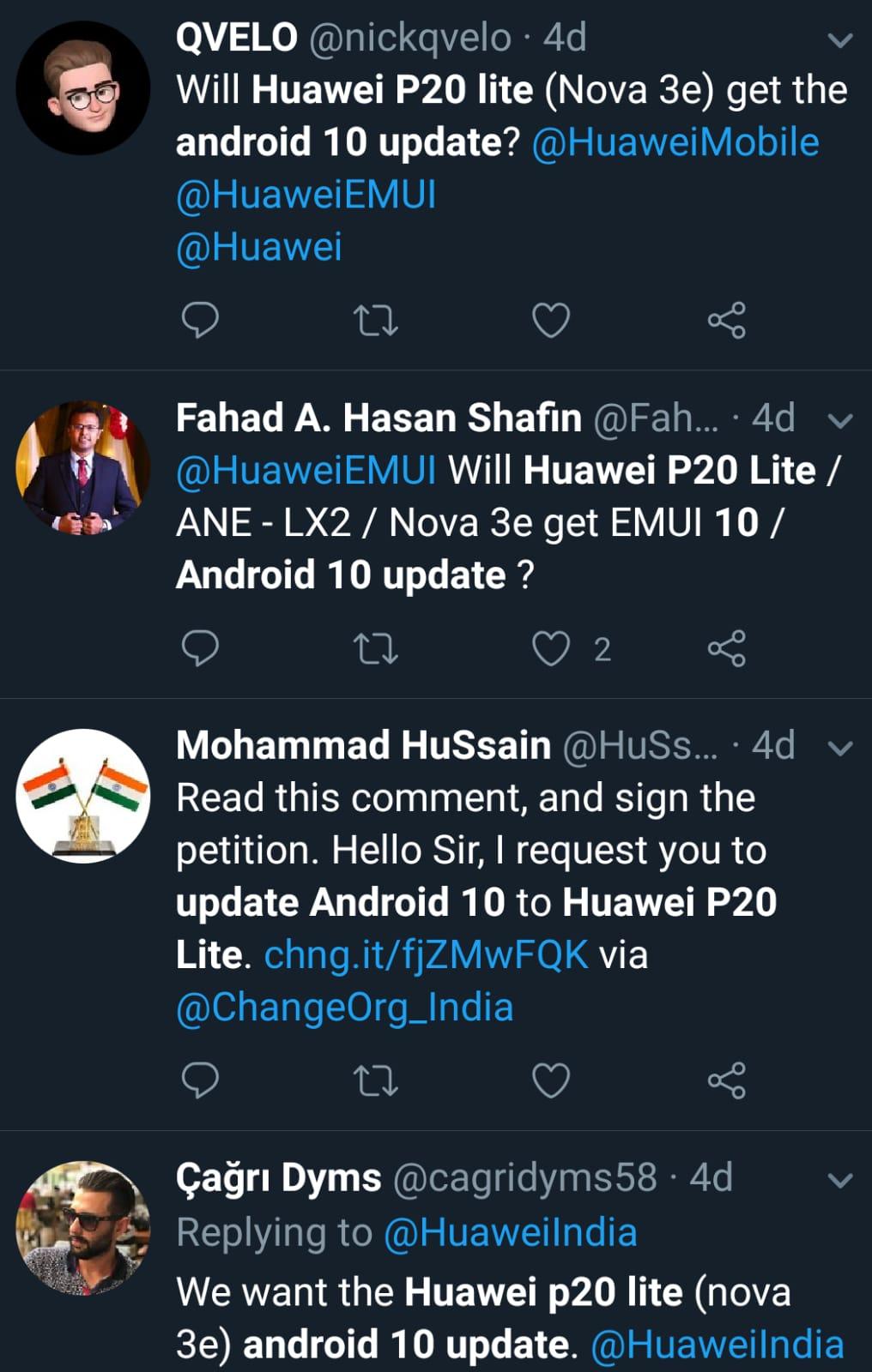 Huawei P20 lite (nova 3e) Android 10 update