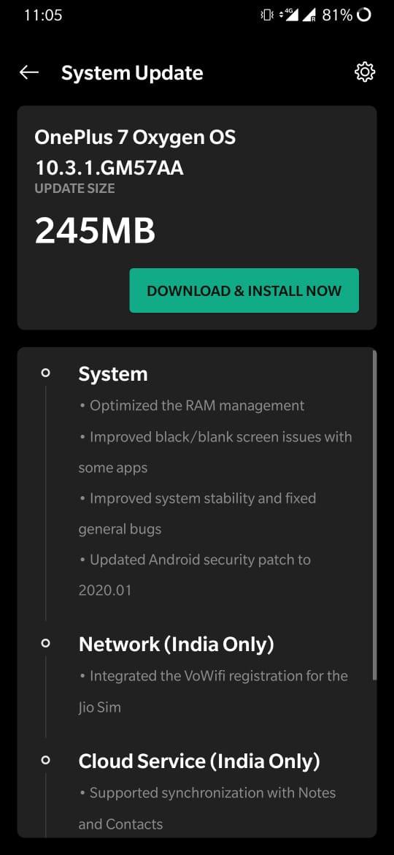 OnePlus 7 gets Oxygen OS 10.3.1 update