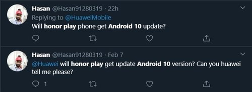 Twitter PostHonor Play Android 10 Update