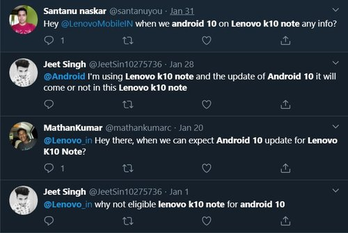 Lenovo K10 Note Android 10 Update