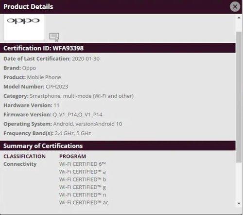 Find X2's Wi-Fi Certification