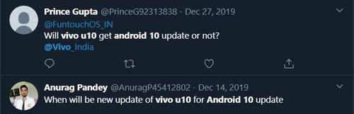 Vivo U10 Android 10 Update Date