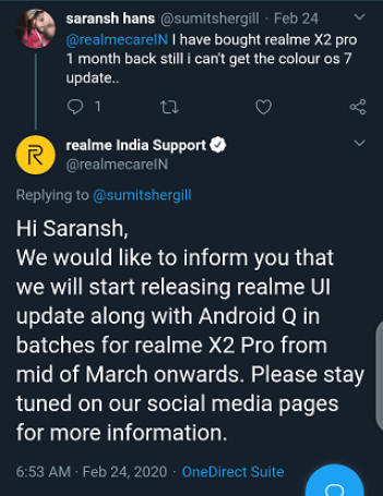 Realme X2/ X2 Pro Android 10 update