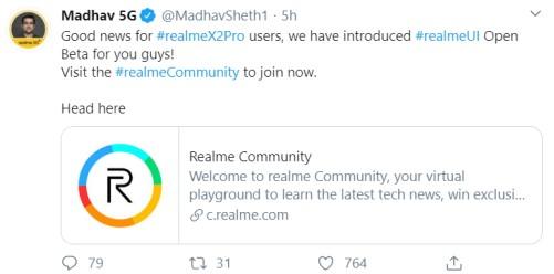 Realme X2 Pro open beta update