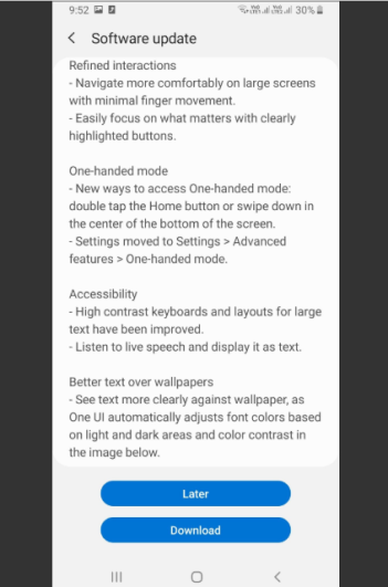 Samsung Galaxy A7 Android 10 update