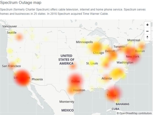 Spectrum Outage : Spectrum Internet Down (not working) for many users