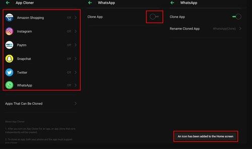 App Cloner in Realme UI
