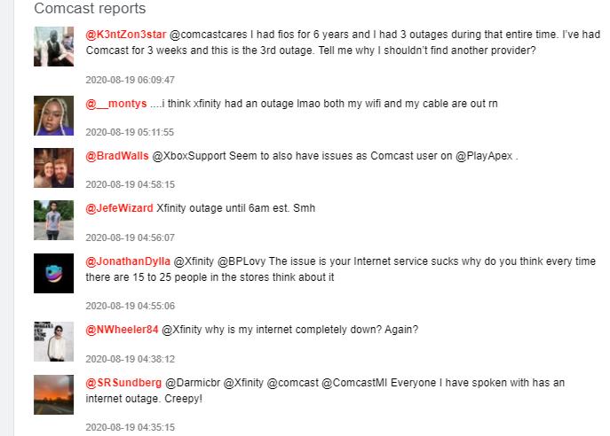 comcast internet down