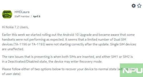 Nokia 7.2 dual-sim start issue