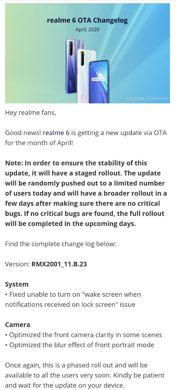 Realme 6 April OTA rolling out with Camera optimizations and other bug fixes