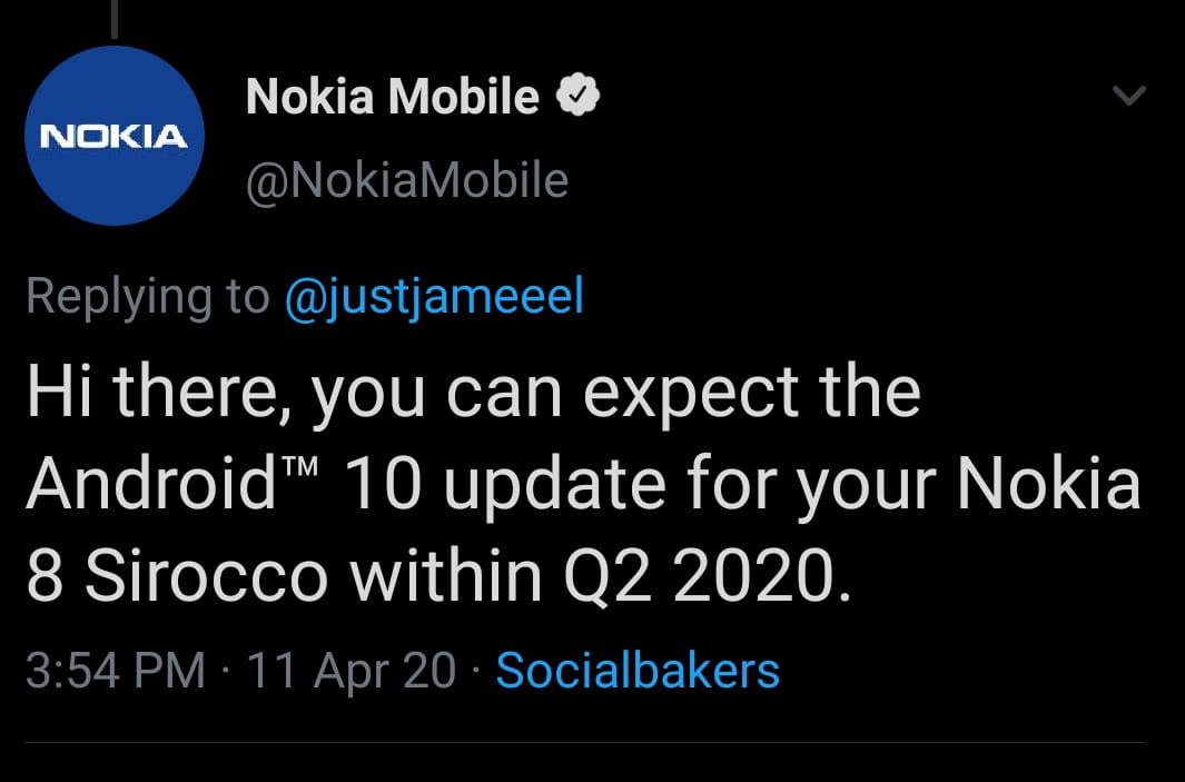 Nokia 8 Sirocco Android 10 Update to arrive within Q2 2020 says support