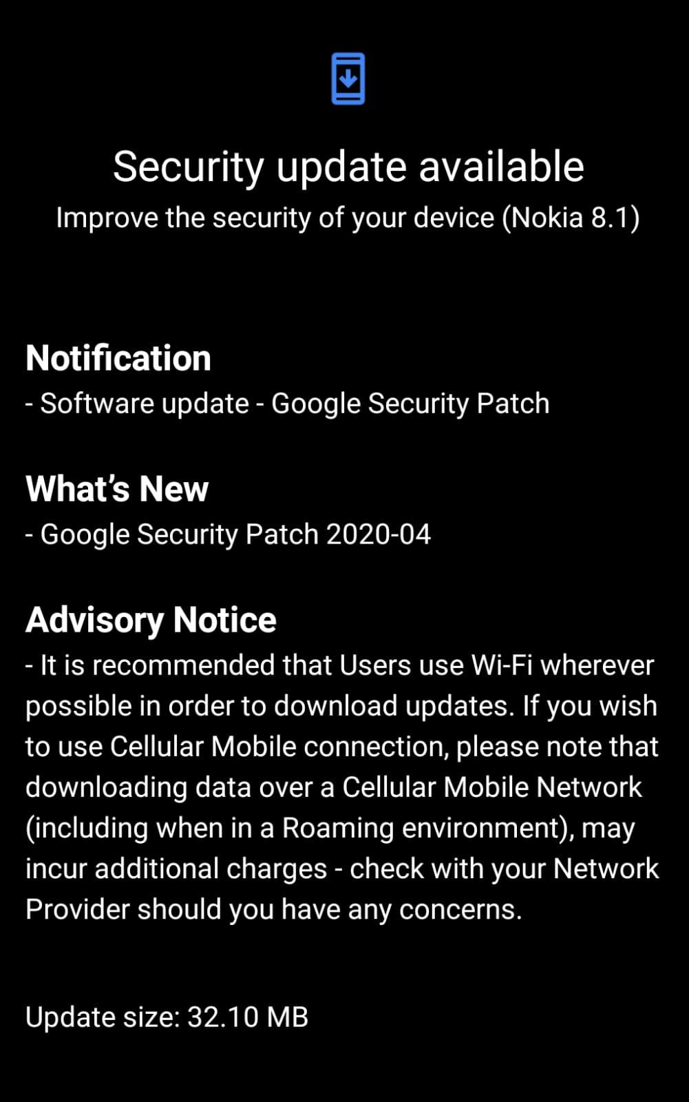 Nokia 8.1 April security patch