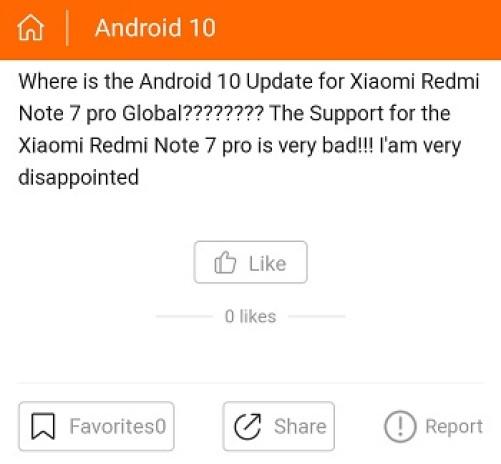 Redmi Note 7 Pro Android 10 Status