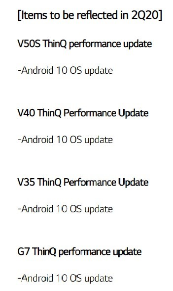 LG V35 ThinQ Android 10 update