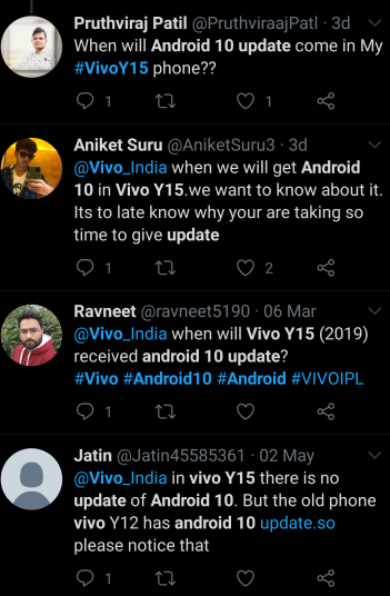 Vivo Y15 Android 10 Update