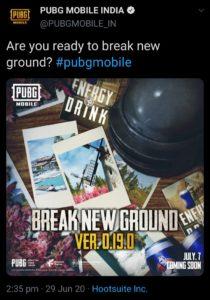 PUBG Mobile India 0.19.0 Tweet