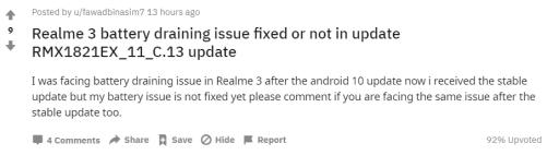 Realme 3 battery drain issue