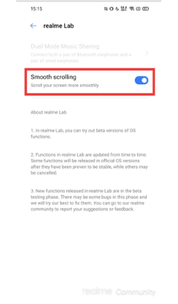 Realme Smooth Scrolling