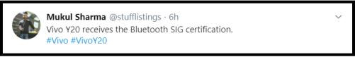Vivo Y20 Bluetooth SIG Certification