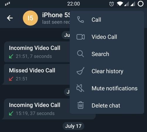 Telegram Video Calling